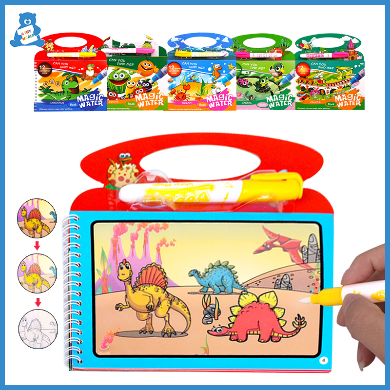 Cartoons Painting Drawing Board Animal Dinosaur Toys Reusable Coloring Magic Water Drawing Book Montessori Educational Kids Toys