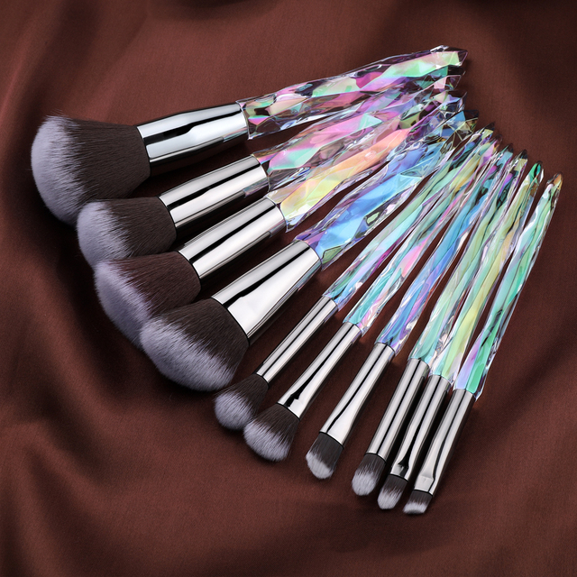 FLD Diamond makeup brushes Set Cosmetic Blush brush Powder Foundation Brush Eye Shadow Lip Eyebrow  Makeup Kit Brushes