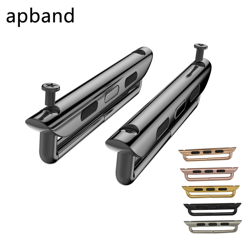 A Pair Adapter For Apple Watch Band 5 4 3 2 Iwatch Band 42mm 38mm Strap Stainless Steel Belt Watchband Accessories Connector