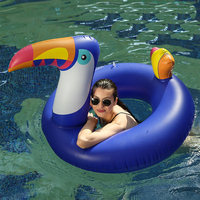 175*120cm Giant Blue Toucan Inflatable Swimming Float For Women Pool Water Party Fun Toy Beach Lounger Air Mattress Piscina