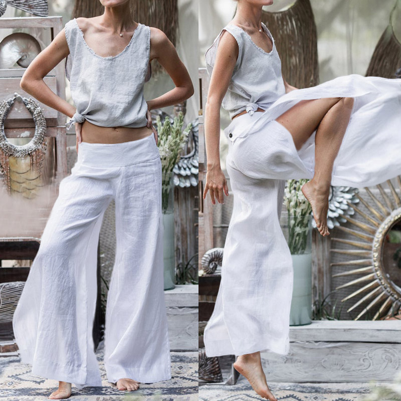 2019 Celmia Women Retro Linen Palazzo Wide Leg Pants Fashion Buttons Split Casual Loose Long Trousers Plus Size Pantalon Femme 7