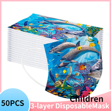 Disposable Mask Print 50pc Children for Kids Breathable