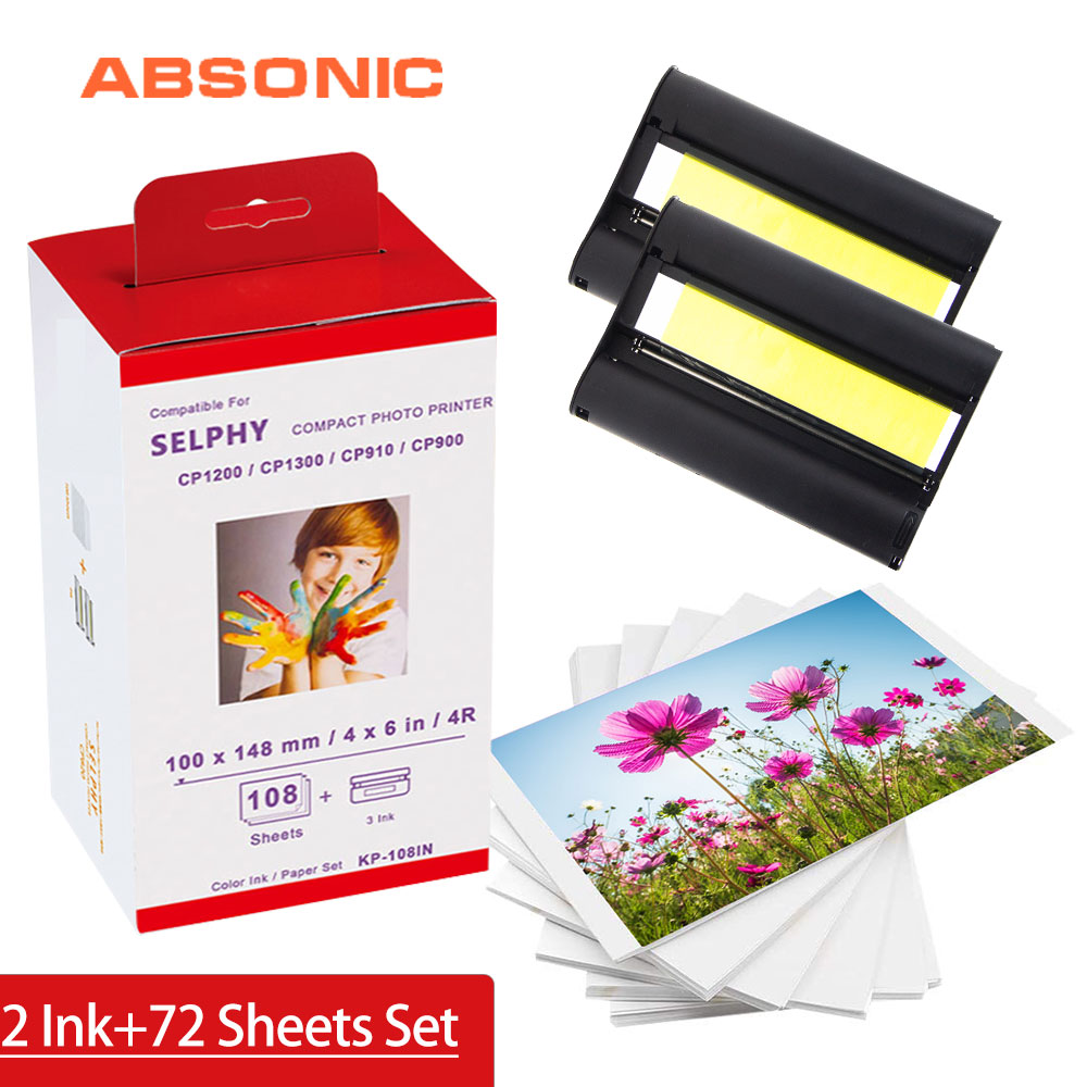 For Canon Selphy Ink Paper Set 2 Ink Cartrdige 72 Sheet Photo Paper For Canon Selphy Printer Cp1200 Cp1300 Cp910 Cp900 Kp 36in Big Promo 2e713 Cicig