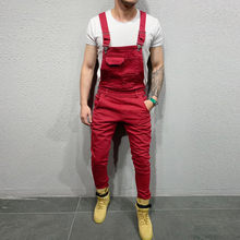 fashion vintage Men's Jeans Red Jumpsuits streetwear Distressed Denim Bib Camouflage Pockets Overalls Male Suspender Pants F826(China)