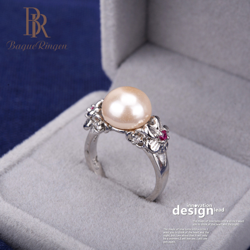 Bague Ringen Rings For Women Silver 925 Jewelry Flower Pearl Temperament Opening Adjustable Rring Female Birthday Gift Weddings
