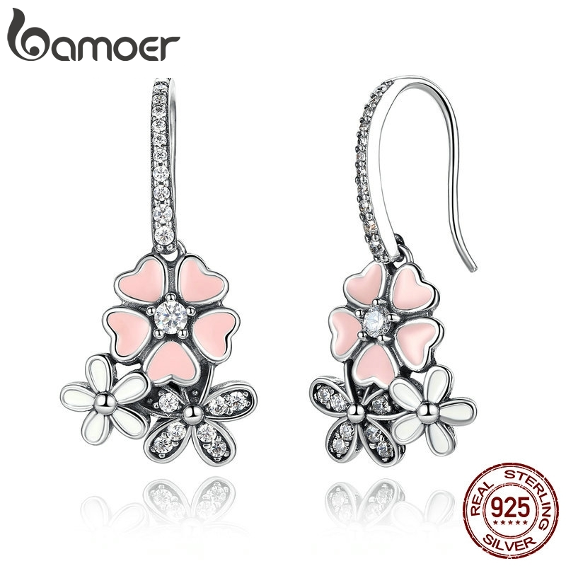 BAMOER 100% 925 Sterling Silver Pink Flower Poetic Daisy Cherry Blossom Drop Earrings with Pearl Back Jewelry SCE016