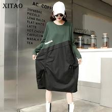 XITAO-robe Patchwork de poches, couleur unie, mode automne 2020, tempérament, col rond, manches longues, ample, décontracté