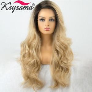 Perucas longas da onda do corpo ombre perucas louras para preto perucas sintéticas do laço da parte dianteira do cabelo de crochê cosplay perucas femininas resistentes ao calor
