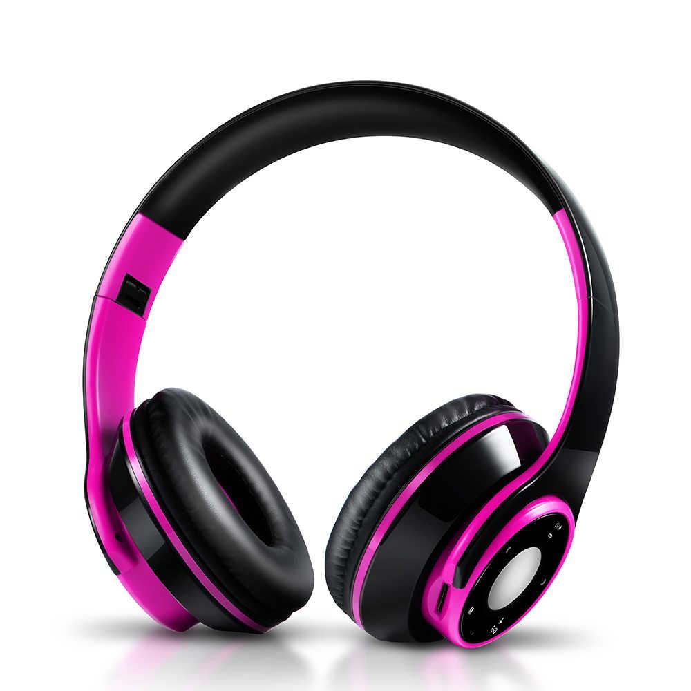 Los mejores auriculares de colores inalámbricos Bluetooth 5,0 auriculares incorporado reproductor Mp3 auriculares deportivos plegables sonido estéreo para teléfono móvil