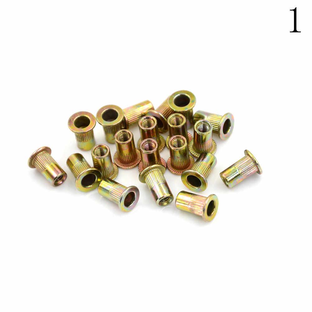 20 adet M3 M4 M5 M6 M8 çinko kaplama karbon çelik tırtıllı somun düz kafa dişli perçin ekle Nutsert kap somun perçin