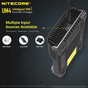 Image 2 - Nitecore cargador inteligente UM4 con cuatro ranuras USB, circuito de control de calidad, seguro Global, cargador li ion AA 18650 14500 16340 26650