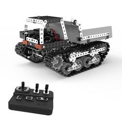 Rc caminhão basculante blocos de construção 2.4ghz 10 canais rc brinquedo do caminhão basculante 934 pcs diy conjunto aço inoxidável tanque rc
