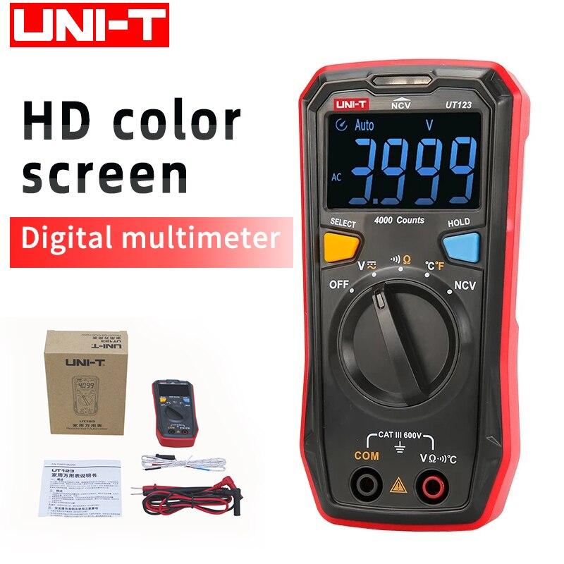 UNI-T UT123 цифровой мультиметр с цветным экраном высокого разрешения, Автоматический диапазон, Удержание данных, Вольтметр постоянного и перем...