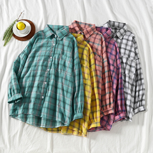 Mooirue Vintage Womens Tops And Blouses Harajuku Colorful Plaid Printed Cardigan Long Sleeve Loose Button Women Blouse