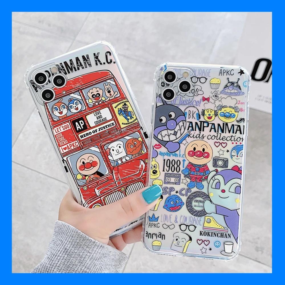 Mignon Dessin Animé Anime Anpanman Manga Pour iPhone 11 Pro Xs MAX XR X 7 8 Plus Couple Transparent Housse de PROTECTION Arrière en TPU Coque