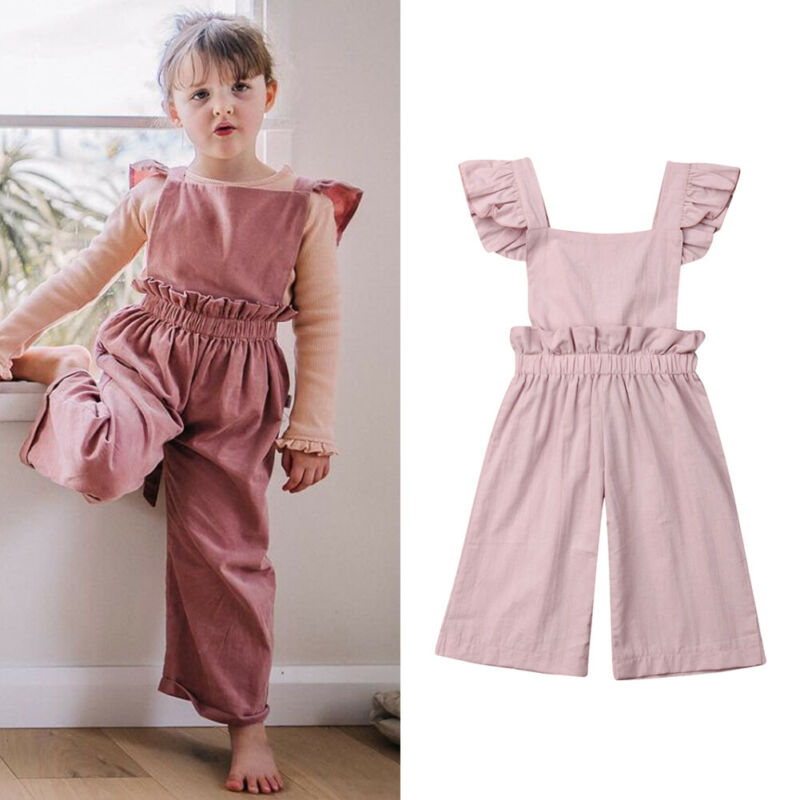 Toddler Baby Girls Sleeveless Pure White Lace Dress Floral Ruffled Suspender Overalls