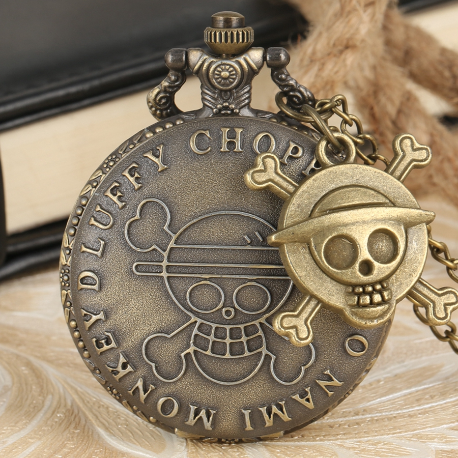 Pirate Skull Luffy One Piece Quartz Pocket Pendant Watch Men's Women's Clock Gift Cool Cosplay For Children Reloj With Accessory
