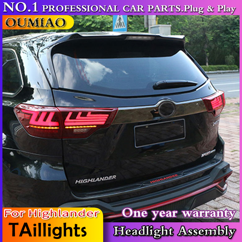 Car Accessories For Toyota Highlander TailLights 2014 2018 New Kluger LED Tail Light Lexus Type Dynamic Turn Signal Rear Lamp