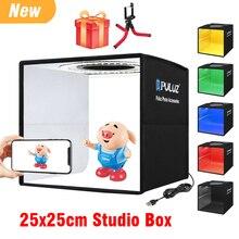 25cm Mini Folding LED Lightbox Photography Ring Light Box Photo Studio Shooting Tent Box Softbox 6 Background Papers 12 Colors
