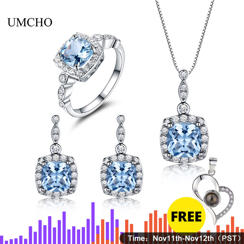 UMCHO 925 Sterling Silver Jewelry Set Sky Blue Topaz Ring Pendant Stud Earrings For Women Wedding Valentine's Gift Fine Jewelry