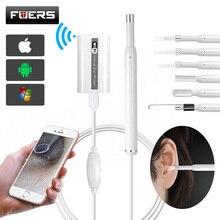 Mini cámara endoscópica para limpieza de orejas endoscópica WIFI HD 720P, con 6 luces LED de inspección, otoscopio, cámara, cuchara de oreja para IOS y Android PC