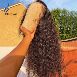ALICROWN 180% Density 13*6 Curly Lace Front Human Hair Wigs With Bleached Knots Pre-Plucked Non-Remy Lace Wigs For Women