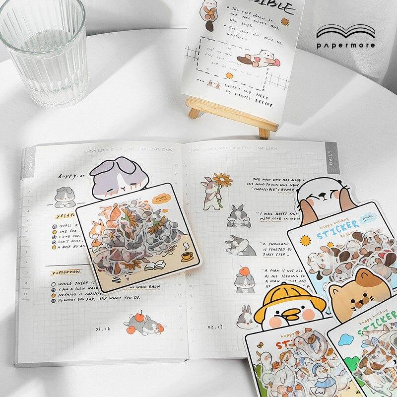 Kawaii Cartoon Animal cat Otter duck Decorative Stationery Stickers Scrapbooking DIY Diary Album Sti