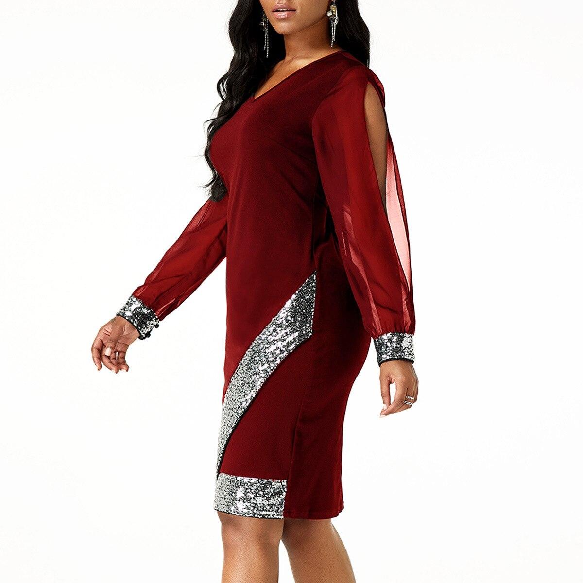 Шифоновая блуза осень платье Для женщин 2019 сексуальное платье с v-образным воротом, из кусков, с блестками коктейльное платье для банкета, ве...