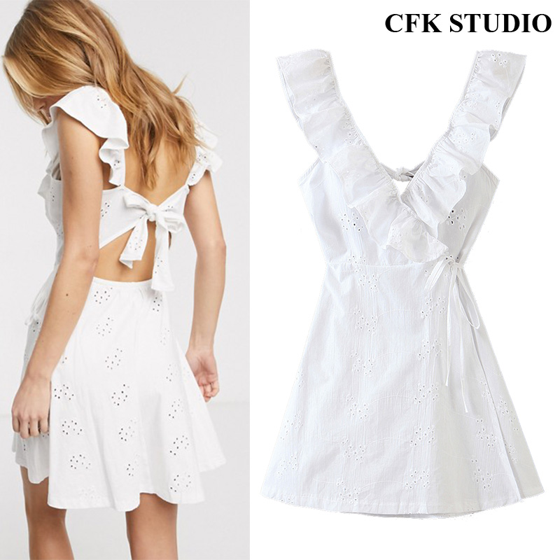 Za 2020 Summer Women Sexy MiniDress With Deep V-neck Embroidery Hollow Out In Back Sleeveless Ruffles White Party Dress Robe