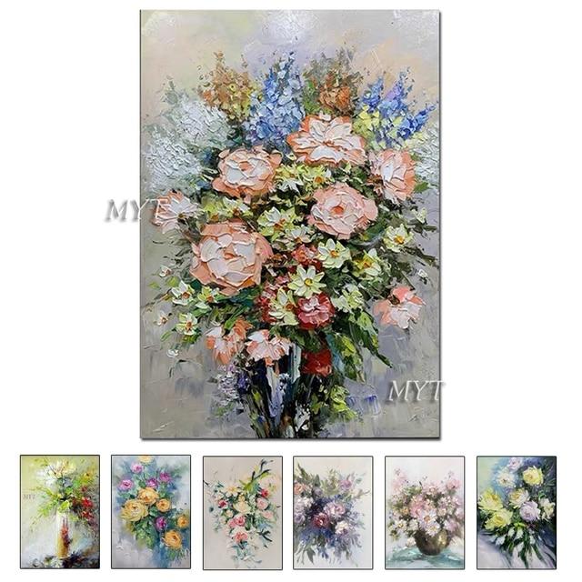 질감 두꺼운 꽃병 꽃 수제 유화 캔버스 벽 아트 유화 캔버스 나이프 아트 홈 인테리어 벽 사진