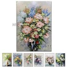 เนื้อหนาแจกันดอกไม้Handmadeภาพวาดผ้าใบWall Artภาพวาดสีน้ำมันผ้าใบมีดArtตกแต่งบ้านภาพผนัง
