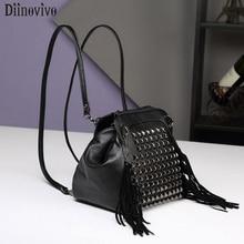 DIINOVIVO Punk Small Backpack Women Rivet Shoulders Multifunction Bag Female Street Fashion Bagpacks For Teenage Girls WHDV1283