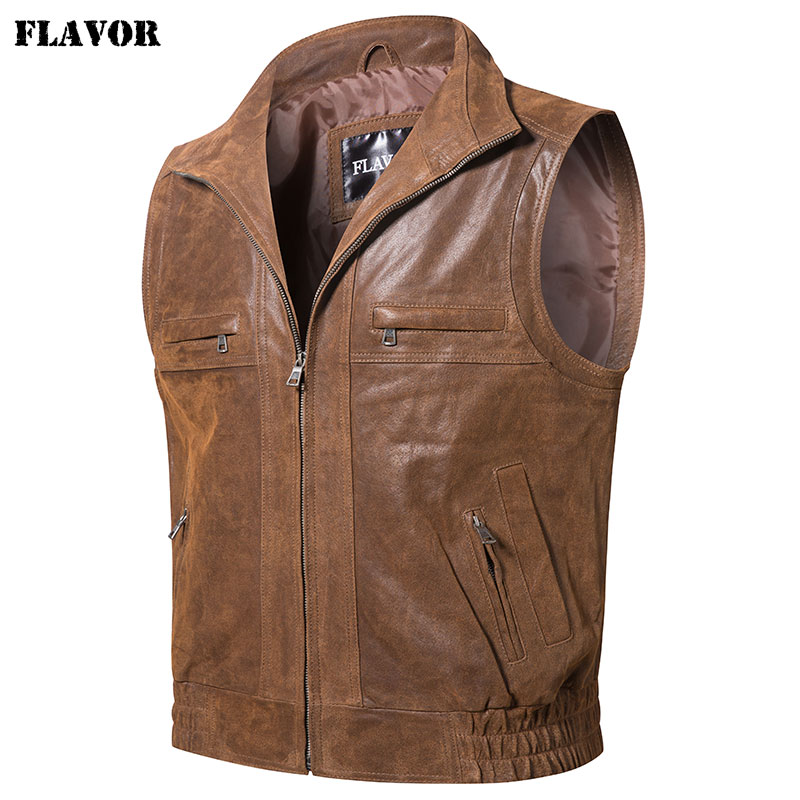 Mew Men's Leather Retro Vest Stand Collar Men's Motorcycle Casual Vest