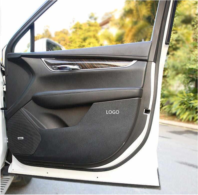Carbon Fiber leather Door Anti Kick Pad Protective Trim For Cadillac XT5 2016-19