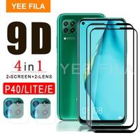 Película de vidro temperado 3 em 1 para huap40 lite e p 40 lite, proteção para tela e câmera para huaweip40 e p40lite e