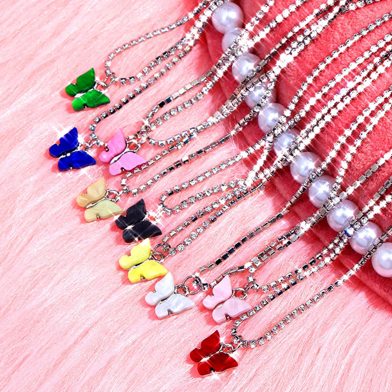 JJFOUCS Fashion Butterfly Crystal Chain Necklace For Women Acrylic Resin Silver Color Choker Necklace Jewelry Wedding Gift