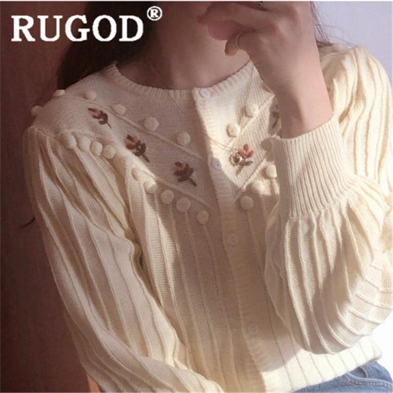 RUGOD Women Vintage Sweater Cardigan O Neck Fresh Embroidery Flower Knit Cardigan Slim New Autumn Fashion Female Elegant Korean