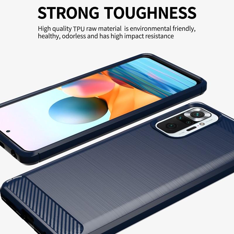 Funda de goma suave de TPU para Xiaomi Redmi Note 10 Pro, carcasa antigolpes de fibra de carbono, 9T, 8T, 9S, 10T Pro, 11 Lite 3