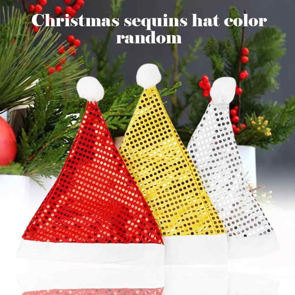 1 pieza de brillantina de lentejuelas de chrstma sombrero de decoración de Santa sombrero hombres mujeres Unisex de Navidad de lujo vestido suministros para fiestas de disfraces de color al azar