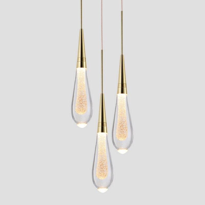 Goutte D'eau de luxe En Verre Pendentif Éclairage LED Postmoderne Hôtel Design Chambre À Coucher Salle À Manger Lampes suspendues En Cristal