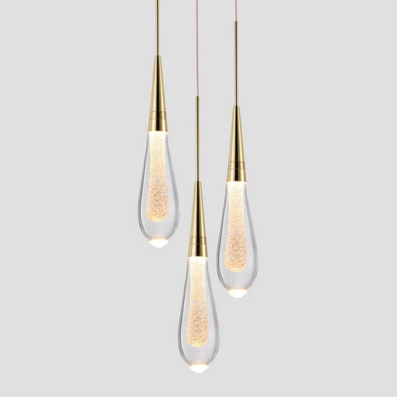 Luxury Water drop Glass Pendant Lighting LED Postmodern Designer Hotel Bedroom Dining Room Crystal pendant Lamps