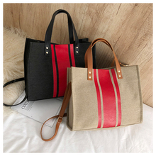 Summer Autumn Natural Striped Canvas Bag OL Business Style Lady Tote Bag Bags Women Handbags 2019 For Girls Crossbody Messenger цена 2017
