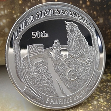 American Apollo Silver Plated Coin For The Earth to Moon First Step liberty coins Souvenirs Bedge Gift drop shipping