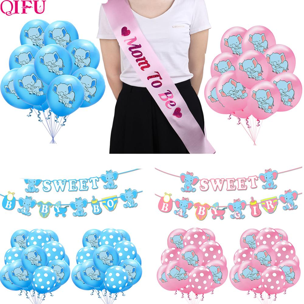 QIFU Its A Boy Girl Baby Shower Baby Decorations Baby Shower Balloons Elephant Party Supplie DIY Decor Oh Baby BabyShower Party