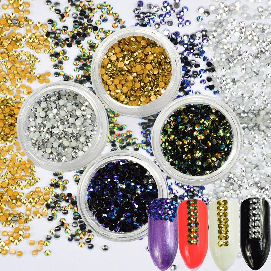 1 Box Gold Silver Jelly Nail Art Rhinestones 3D Round Jewelry Flatback Shining Stone DIY Manicure  Nail Art Accessories JI390