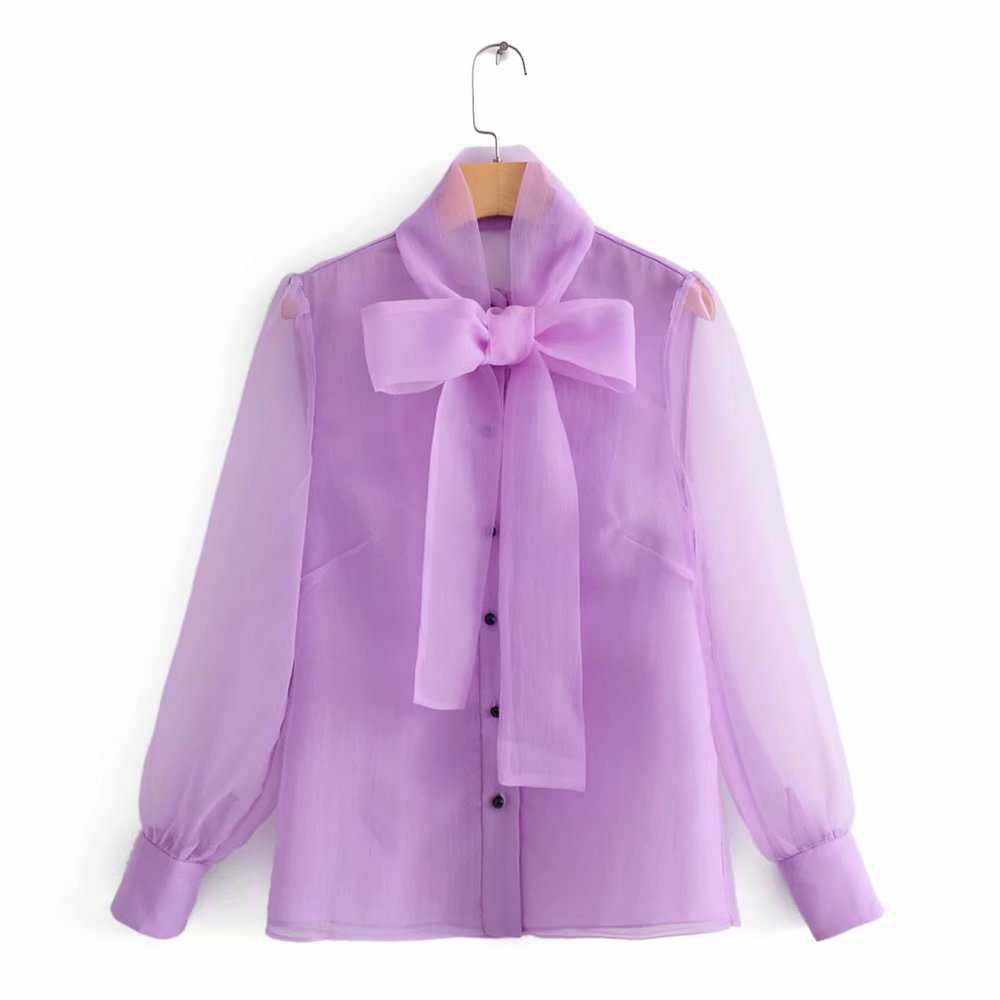 Women Sexy Transparent Bow Tied Collar Casual Organza Blouse Shirts Women Business Femininas Blusas Chic Femininas Tops LS4261