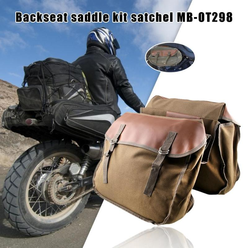 Canvas Motorcycle Saddlebag Tool Bag Universal Satchel Cycling Portable Large Capacity For Sportster Honda Shadow Vulcan