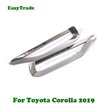 цена на 2pcs Chrome Rear Fog Light Taillight Trim Cover Strip Sticker For Toyota Corolla 2019 Accessories Car Styling