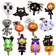Halloween tema da folha de alumínio balão cabeça abóbora crânio wizard estranho fantasma festival carnaval demônio festa decoração engraçada