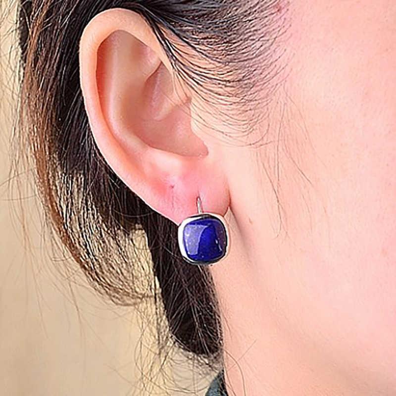 BALMORA 925 เงินสเตอร์ลิง Lapis Lazuli Drop Dangle ต่างหูผู้หญิงเลดี้ของขวัญ Retro Elegant แฟชั่นเครื่องประดับ Brincos